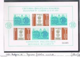 "BULGARIA - MI BL195 -   1989 ""BULGARIA '89"""" INT. STAMP EXN.  (IMPERFORATED BF TIRAGE 24.615)  - MINT** - RIF.  CP - Blocks & Kleinbögen"