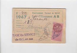 Thermalisme Royat / Carte Abonnement Sept  1947 / Timbre Fiscal - France