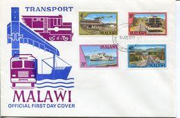 Malawi Mi# 281-4 Used On FDC - Transport Ship, Car, Trains, Airplanes - Malawi (1964-...)