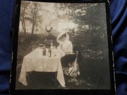 Photo Grand Cabinet Anonyme - élégante Pique Nique En Forêt, Petit Chien, Ca 1895-1900 L514 - Anciennes (Av. 1900)