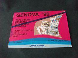 CARTOLINA BIGLIETTO OMAGGIO GENOVA 92 ESPOSIZIONE MONDIALE DI FILATELIA TEMATICA ROSA FRANCOBOLLI COLOMBO RAPPRESENTAZ. - Bourses & Salons De Collections