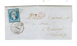 REF1413/ TP 22 S/LAC C.Lille/Wazemmes  11/1/1865 + PTS 2046 B C.Rouge PD Tarif Frontalier > Tournai C.France Par Tournai - Postmark Collection (Covers)