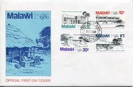 Malawi Mi# 344-7 Used On FDC - Postal Buldings - Malawi (1964-...)