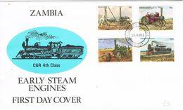 36877. Carta F.D.C. NDOLA (Zambia) 1983. Early Steam ENGINES. Ferrocarril, Maquinaria - Zambia (1965-...)