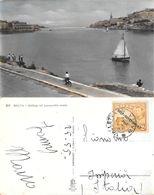 Malta. Sailing Off Lazzaretto Creek. Viaggiata 1955, Francobollo Sovrastampa 1947 - Malte