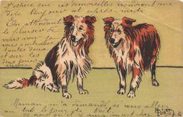 Chien (Animaux) - Deux Chiens - Illustrateur Heliott - Chiens