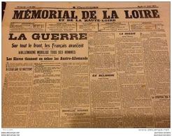 WW1 JOURNAUX DE GUERRE Du 17 Août 1914 - L'ALLEMAGNE MOBILISE TOUS LES HOMMES - BELGIQUE - LIÈGE - SAINT ÉTIENNE - Historical Documents