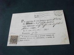 RAPPRESENTAZIONI FRANCOBOLLI STAMP TIMBREPOSTE ESTENSI 25 CENT VIGNOLA RICEVUTA RITORNO PER RACCOMANDATA 1853 - Briefmarken (Abbildungen)