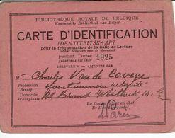 BRUXELLES.BIBLIOTHEQUE ROYALE DE BELGIQUE=LOT DE DEUX CARTES D'IDENTIFICATION=BIBLIOTHEEK ,IDENTITEITSKAART - Bibliotecas