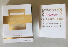 CARTIER & BOUCHERON : 2 Tubes échantillons Sur Carte - Perfume Samples (testers)