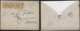 Lettre Napoléon N°13A En Bande De 3 Se-tenant + Un Isolé De Chantilly Pour Reims - 1858 - Postmark Collection (Covers)
