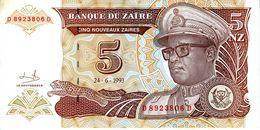 ZAIRE - Banque Du Zaïre - 5 Nouveaux Zaïres 24.06.1993 - Série D 8923806 D - P.53a - UNC - Zaire