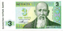 KAZAKHSTAN 3 TENGE GREEN MAN FRONT & LANDSCAPE BACK DATED 1993 P8 UNC READ DESCRIPTION CAREFULLY !! !! - Kazakhstán