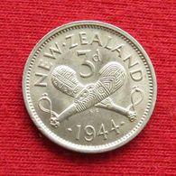 New Zealand 3 Pence 1944 KM# 7 Lt 98 Silver  Nova Zelandia Nuova Zelanda Nouvelle Zelande - Neuseeland