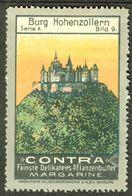 """Hamburg 1913 """" Contra Margarine Bild: Burg Hohenzollern In Sigmaringen """" Vignette Cinderella Reklamemarke - Cinderellas"""