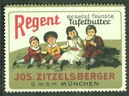 """München Bayern 1913 """" Jos. ZITZELSBERGER Regent Margarine """" Vignette Cinderella Reklamemarke - Cinderellas"""
