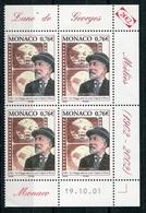 RC 18107 MONACO N° 2366 FILM VOYAGE DANS LA LUNE MÉLIÈS BLOC DE 4 COIN DATÉ NEUF ** TB - Monaco
