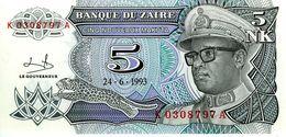 ZAIRE - Banque Du Zaïre - 5 Nouveaux Makuta 24.06.1993 - Série K 0741519 A - P.48 - UNC - Zaire