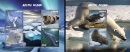 Liberia 2020, Animals In Artic, Birds, 4val In BF+BF - Arctic Wildlife