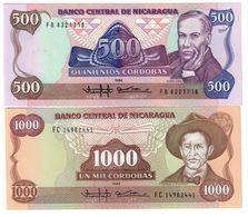 Nicaragua Lot Set 2 Banknotes 500/1000 Cordobas 1985 UNC .CV. - Nicaragua