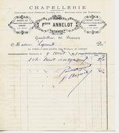 Facture 1/2 Format 1891 / 25 BESANCON / Chapellerie F ANNELOT / Chapeaux Soie, Feutre, Paille, Casquettes - 1800 – 1899
