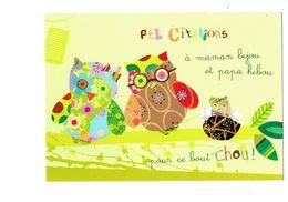 Cpm - Illustration Félicitations Hibou Chouette Lampion - Patchwork Editor - Animales Vestidos