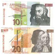 Slovenia Lot Set 2 Banknotes 10/20 Tolar 1992 UNC. CV. - Slovénie