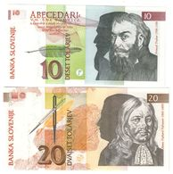 Slovenia Lot Set 2 Banknotes 10/20 Tolar 1992 UNC .CV. - Slovénie