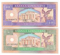 Somaliland Lot Set 2 Banknotes 5/10 Shillings 1994 UNC. CV. - Somalia