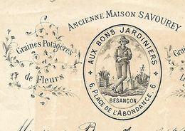 """Facture 1/2 Format 1899 / 25 BESANCON / Vve BOURRIER / Anc SAVOUREY / 3Aux Bons Jardiniers"""" Graines - 1800 – 1899"""