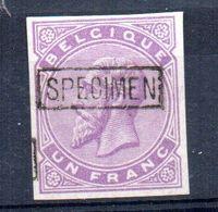 Sello De Un Franc  Sin Dentar Y Sobrecarga Specimen Belgica. - 1883 Leopold II