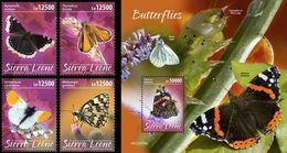 Sierra Leone 2020, Animals, Butterflies, 4val +BF - Sierra Leone (1961-...)
