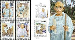 Sierra Leone 2020, Gandhi, 4val +BF - Sierra Leone (1961-...)