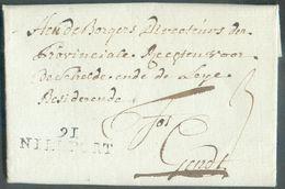 LAC De91/NIEUPORT(griffe Noire) Le 1 Sept. 1796 Vers Gand; Port De '3' Décimes. -TB- 15853 - 1794-1814 (Période Française)