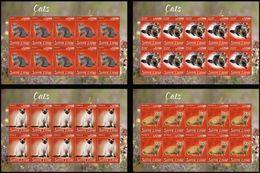 Sierra Leone 2020, Animals, Cats, 4sheetlets - Sierra Leone (1961-...)