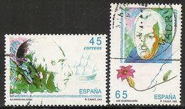 1993-ED. 3267 Y 3268 -SERIE COMPLETA. EXPLORADORES Y NAVEGANTES.ALEJANDRO MALASPINA Y CELESTINO MUTIS-USADO - 1991-00 Gebraucht