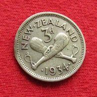 New Zealand 3 Pence 1934 KM# 1 Lt 212 Silver  Nova Zelandia Nuova Zelanda Nouvelle Zelande - Neuseeland
