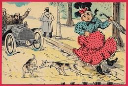 CPA Humour Grotesque - Automobile Chiens Vieille Dame Au Parapluie (l'accident N'est Pas Loin...) ** Voiture Auto Car - Humour