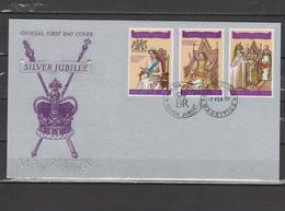 Mauritius 1977 Queen Elizabeth II Silver Jubilee Set Of 3 On FDC - Royalties, Royals