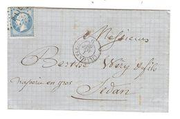 REF1419/ TP 22 S/LAC C.Lille à Paris +1/5/1867 + PTS P LIL > Sedan C.d'arrivée + Paris à Strasbourg 2/5/67 - 1849-1876: Periodo Classico