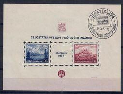 CECOSLOVACCHIA 1937 - ESPOSIZIONE FILATELIA DI BRATISLAVA - FOGLIETTO BF USATO - Usados