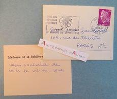 CDV Madame De La SABLIERE - 1968 - à Bernard Gauthron (chansonnier & Critique D'art) - Carte De Visite - Cartes De Visite