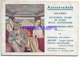 136836 ITALY MILANO AUTOSTRADALE GREAT TOURISM LINE & PUBLICITY YEAR 1932 NO POSTAL POSTCARD - Andere Sammlungen