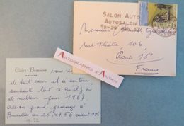 CDV Claire BRASSEUR 1967 à Bernard Gauthron (chansonnier & Critique D'art) Carte De Visite - Cachet Salon Auto Bruxelles - Cartes De Visite