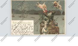 WEIHNACHTEN / NIKOLAUS / WEIHNACHTSMANN / SANTA, Englein, Rehschlitten, Mailick, 1900 - Santa Claus