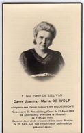 Doodsprentje VROUW FEMME Joanna DE WOLF °1909 SINT-AMANDSBERG  +1953 MOORSEL // DOKTER VAN OUDENHOVE - Andachtsbilder