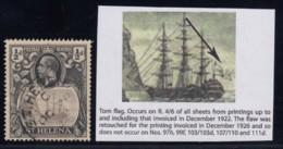 "St. Helena, SG 97b, Used ""Torn Flag"" Variety - Saint Helena Island"
