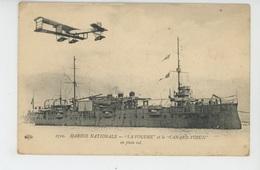 """AVIATION - BATEAUX - MARINE NATIONALE - """"LA FOUDRE """" Et L' Avion """"LE CANARD VOISIN """" En Plein Vol (cachet Militaire ) - Krieg"""