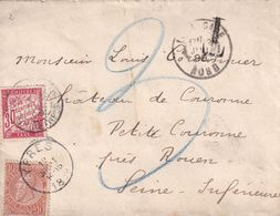 DDX 271 - Lettre TP 57 Fine Barbe YPRES 1899 Vers Le Chateau De COURONNE (ROUEN) - Taxée 30 C En France - 1893-1800 Fijne Baard