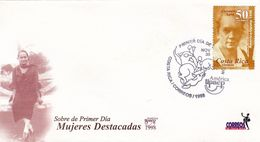 MUJERES DESTACADAS, CARMEN LUYA. COSTA RICA FDC ENVELOPPE ANNEE 1998 UPAEP AMERICA -LILHU - Costa Rica